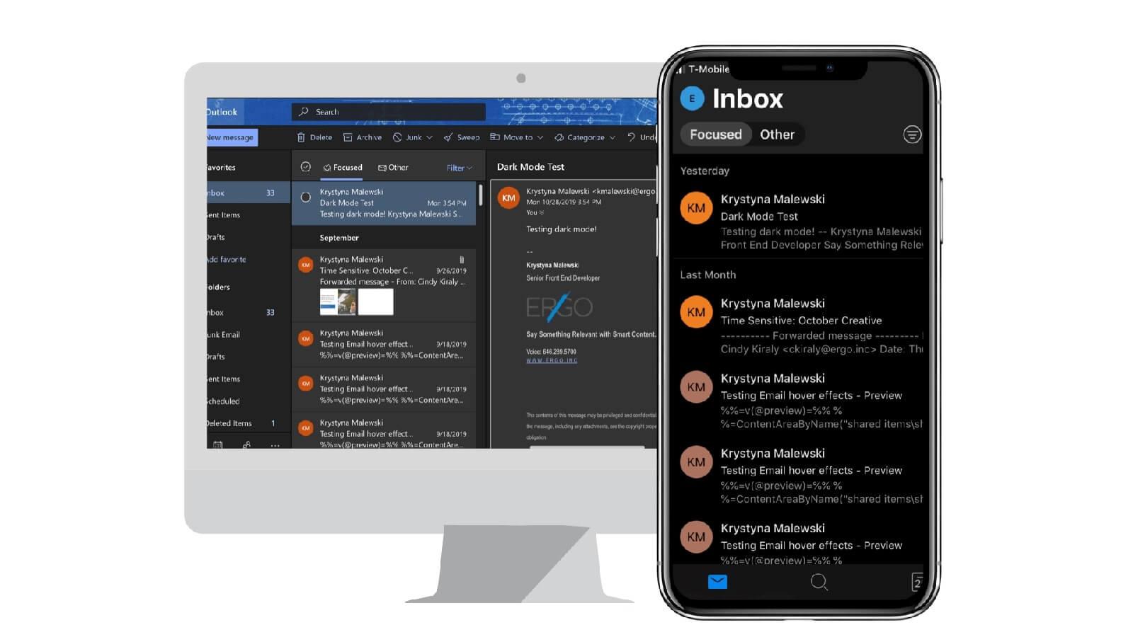 Dark mode inboxes