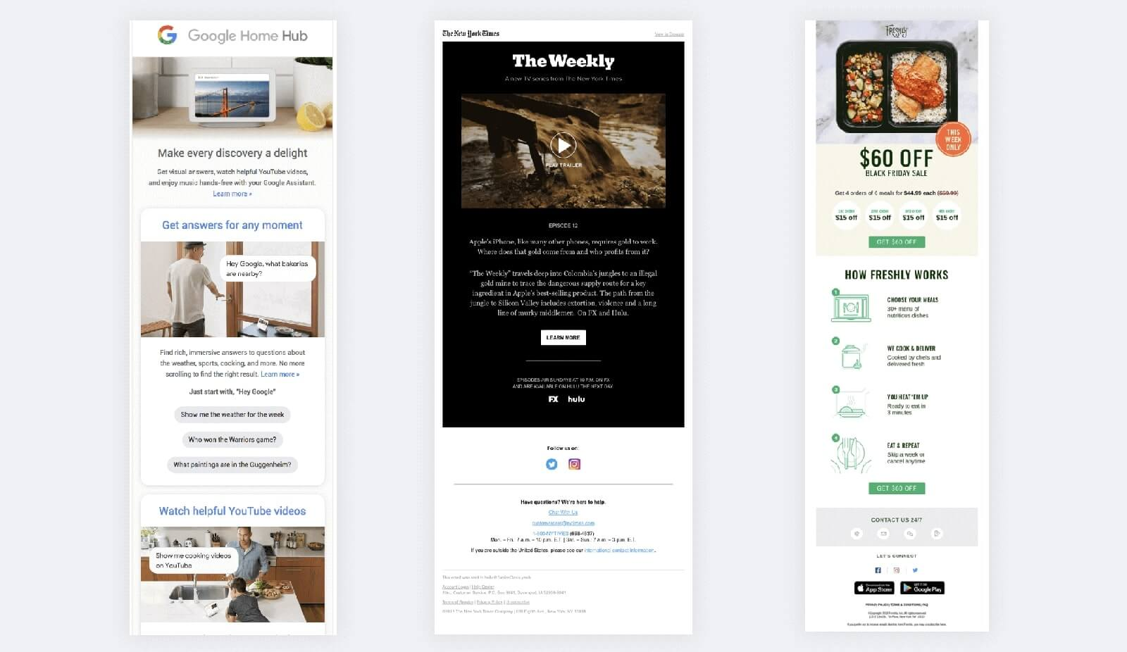 Animations in emails design examples