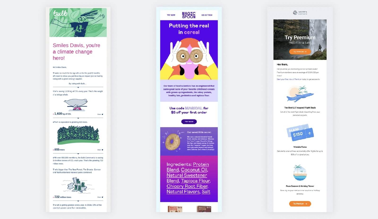 Custom illustrations in emails design examples
