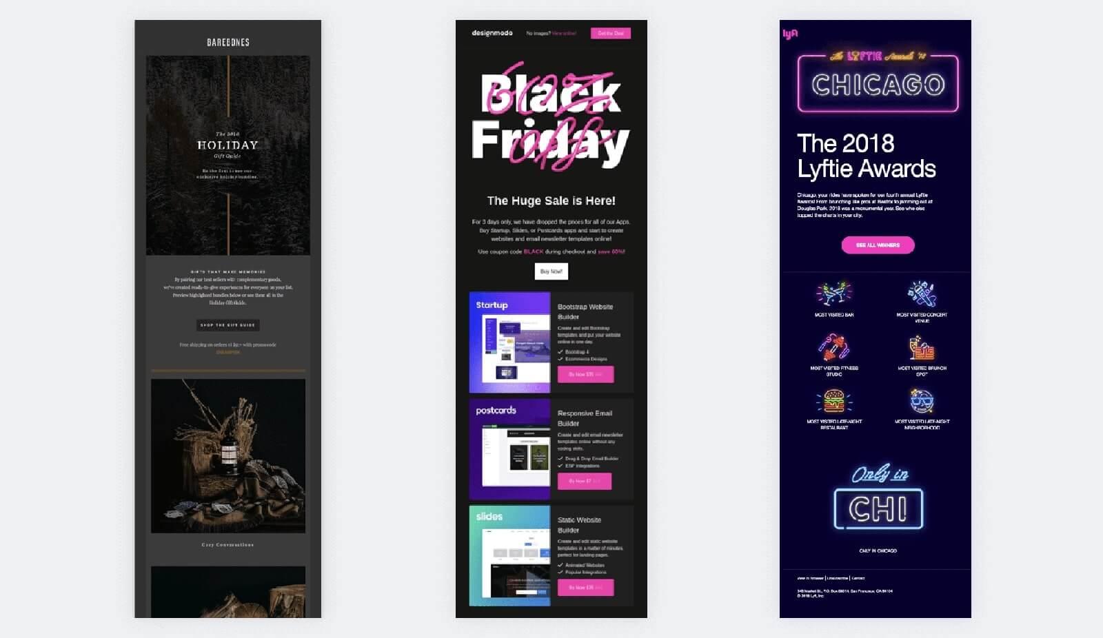 Dark email design examples