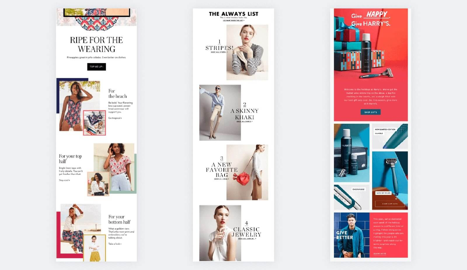 Emails design examples with asymmetry and overlaps