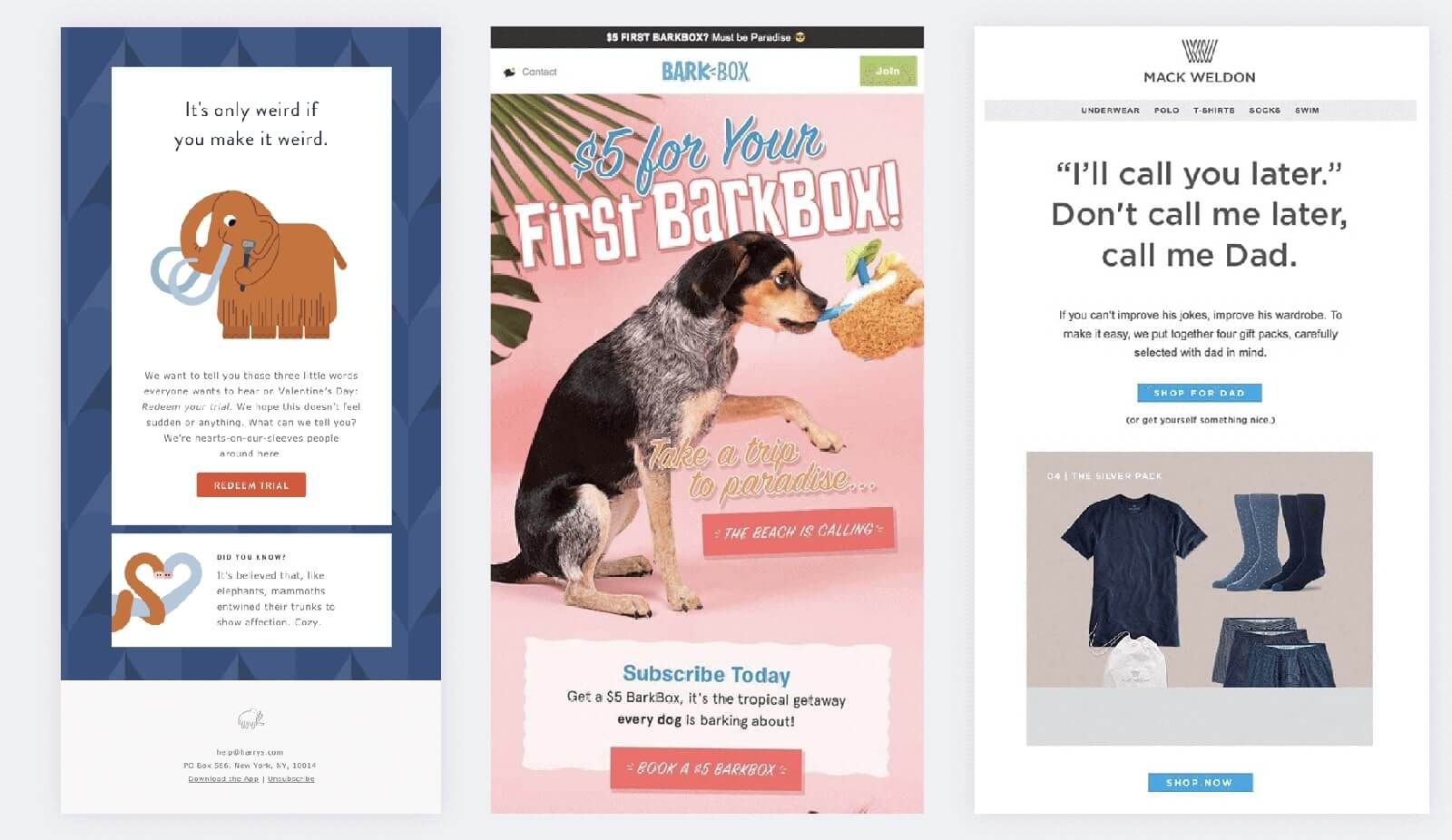 Humor in emails design examples