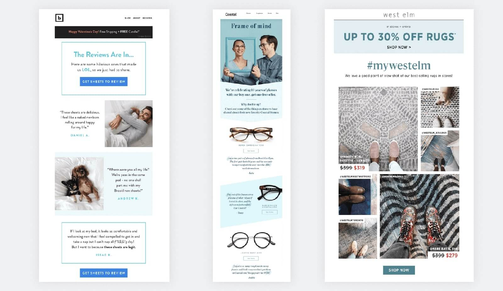 User generated content in emails design examples