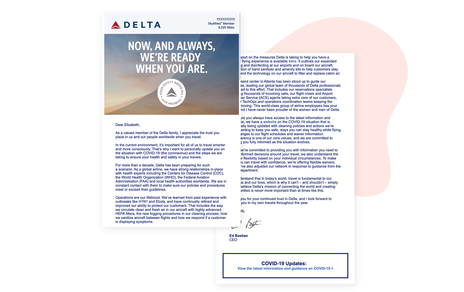Delta plain text email example